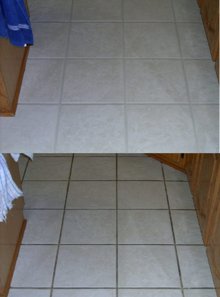Tile and grout before and after